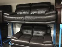 New/Ex Display Brown Leather Genoa 3 + 2 Seater Sofas