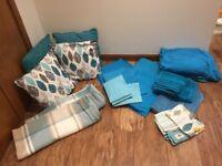 Soft furnishings bundle - cushions, bedding, towels - teal colour