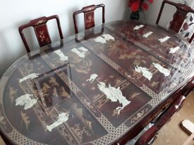 Grand Antique Black Lacquer Mother Of Pearl Chinese Dining Table And Six Chairs.