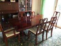 Extendable wooden dining table, 6 chairs & display cabinet