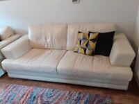 Cream Three seater Leather sofa