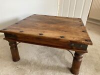 Solid wood coffee table square good condition