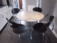 MARBLE ROUND TABLE AND FOUR CHAIRS