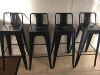 Black metal Tolix style breakfast bar stools