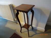 """antique oak display or pot stand 30"""" high 11"""" square top"""
