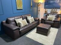 Dark brown plum leather Violino suite 3 seater sofa and chair and pouffe