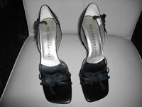 LADIES ROLAND CARTIER BLACK LEATHER OPEN TOE SHOES, SIZE 4 UK, 37 EU, ONLY WORN ONCE