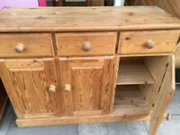 SOLID PINE 3 DOOR 3 DRAWER SIDEBOARD EVERY INCH SOLID PINE