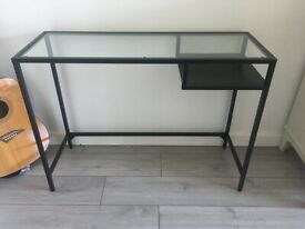 Black glass occasional hall desk table