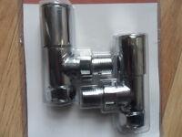 15mm Angled Chrome Radiator / Towel rail valves, taps - Pokesdown BH5
