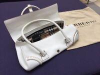 Burberry White Calf Leather Handbag With Tags