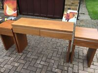 One desk and 2 smaller tables matching set