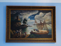 Moonlite Fishing Boat Scene Oil Painting