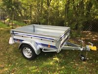 Nearly new trailer for sale, used once. Spare wheel and jockey wheel included