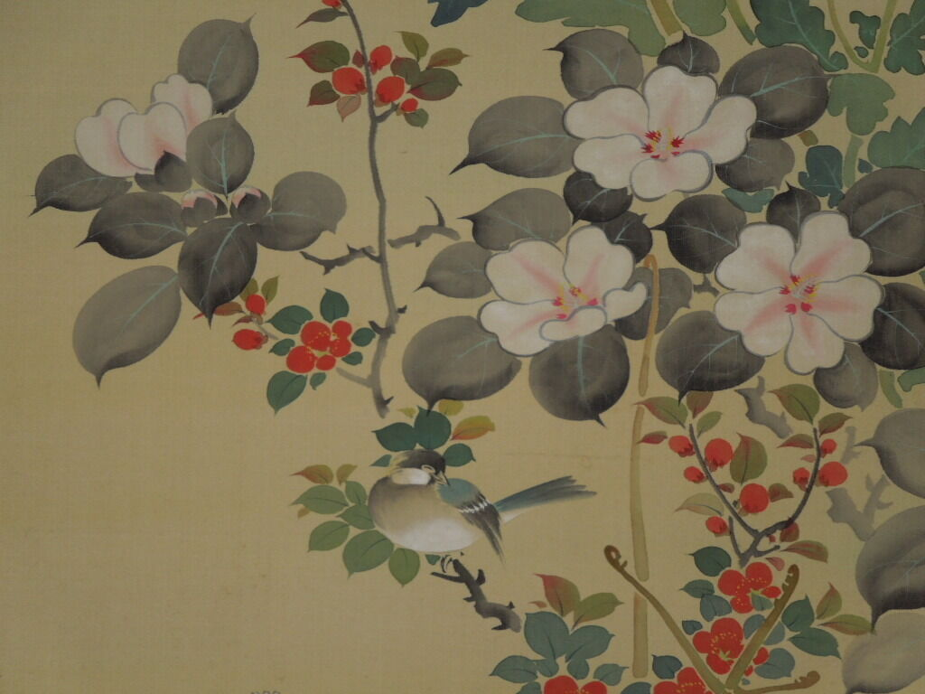 Japanese Painting Camellia Hanging Scroll bird Butterfly Antique Japan art p39