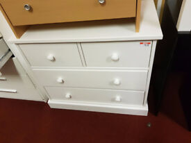 Slim 2+2 solid wood chest - White