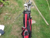 18 GOLF CLUBS AND DUNLOP CARRY CASE
