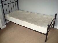 Bargain Single Orthopedic mattress and Black Bed Frame