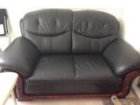 Leather sofa two seater black