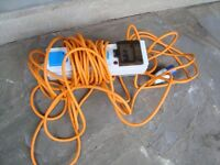 CAMPING ELECTRIC CABLE WITH 3 SOCKETS AND TRIP SWITCH LONG LEAD ONLY £25 FOR QUICK SALE