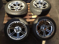 SET OF 4 NEW 15 INCH SS CHROME ALLOY WHEELS WITH 4 NEW TYRES BARGAIN
