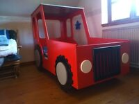 CHILDRENS TRACTOR BED- RED AND SILVER-SINGLE-