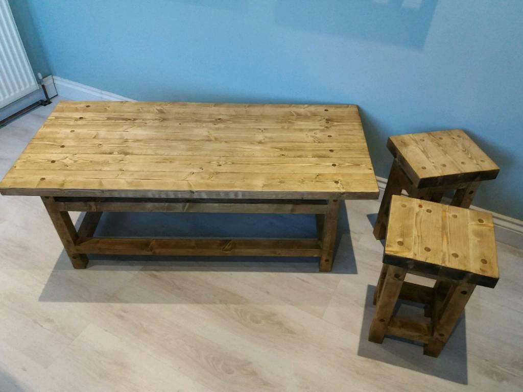 Rustic Pine Coffee Table Set