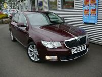 SKODA SUPERB 2.0 SE PLUS TDI CR 5d 140 BHP **SAT-NAV** (maroon) 2012