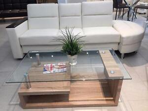 table de salon rectangulaire, finition chêne 3D avec dessus en verre trempé