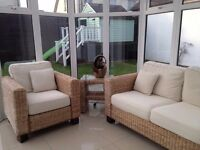 Rattan Conservatory Furniture - 2 Seater Sofa, Armchair & Side Table with Shelf