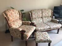 2 seater settee, armchair and footrest