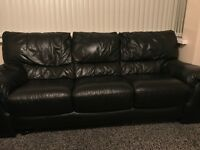 2 X 3 Seater Leather Sofas Black !