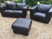 2+1 LEATHER SOFAS WITH FOOTSTOOL