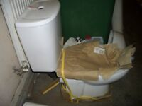 Brand new toilet pan and cistern. Close couple toilet pan, Single push flush hole on top of cistern