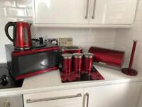Red morphy Richards kitchen bundle microwave kettle toaster