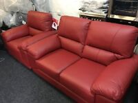 NEW / Ex Display Harvey's Vixion Red Leather 2 Seater Sofa + 1 Seater Chair Sofa
