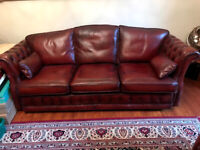 3-2-1 LEATHER CHESTERFIELD SUITE - AS NEW