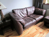 Brown leather sofa + 2 matching swivel chairs + footstool