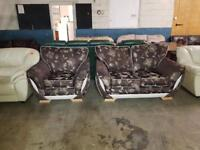 2+1 brown and cream floral sofa in good condition