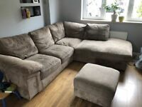 LARGE JUMBO CORD BROWN CORNER SOFA - MUST GO ASAP - CHEAP DELIVERY - £325