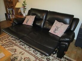 3 Seater reclining sofa in black leather style