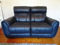 Luxury Blue Leather Reclining 3 Piece Suite