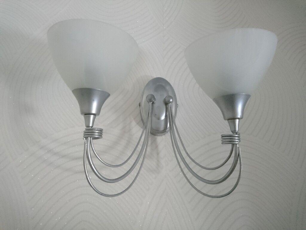 2x silver glass wall lights in dartford kent gumtree 2x silver glass wall lights aloadofball Images