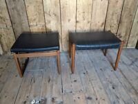 Pair of Danish style teak dressing table stools inc G Plan Quadrille stool gplanera