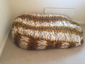 Giant animal print beanbag