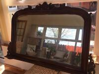 VINTAGE LARGE WOODEN MIRROR OVERMANTEL 58 Inch