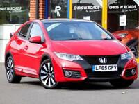 HONDA CIVIC 1.6 I-DTEC EX PLUS 5dr ** Sat Nav + Leather + Pan Roof ** (red) 2015