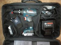 As new (ex display) Bosch Professional GSB 18-2-Li Plus, with 2 batteries, charger and carry case