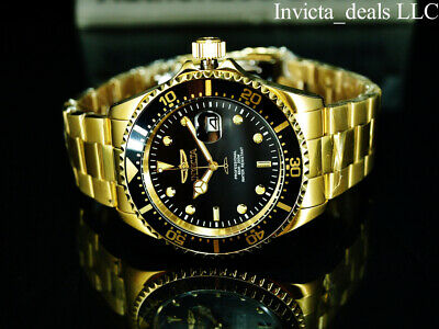 Invicta Men's 43mm Pro Diver SUBMARINER BLACK Dial 18K Gold Plated SS 200M Watch