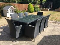 Gorgeous Black Rattan 8 Seater Garden Table and Chairs with Grey cushions - Excellent Condition